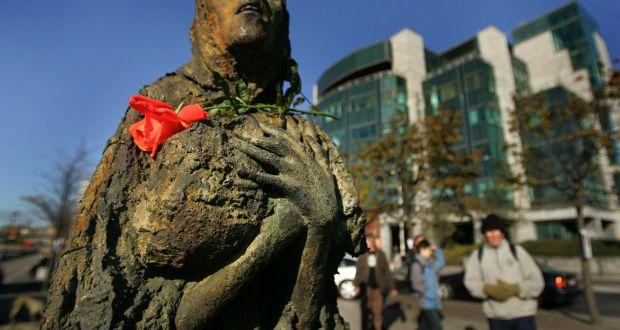 One of Rowan Gillespie's Famine statues in Dublin. Photograph: Kate Geraghty