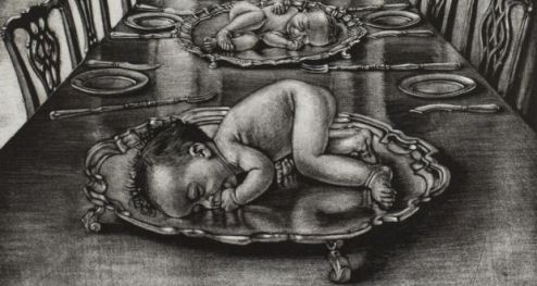 A Modest Proposal for 21st century Ireland The baby in the deanery dining table image appears to be eating her own  hand