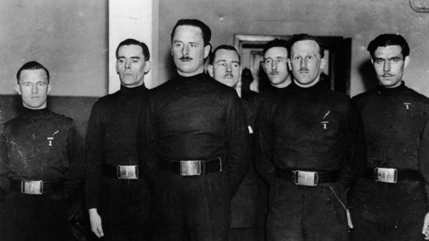 English Leader of the British Union of Fascists Oswald Mosley (1896 - 1980) with some of his men, including William Joyce (1906 - 1946), aka Lord Haw Haw (far left). Photograph: Keystone/Getty Images