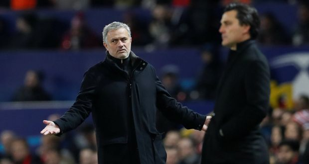 Manchester United manager Jose Mourinho gestures on the sidelines during  the Champions League round of 16 second leg against Sevilla at Old Trafford. Photograph:  David Klein/Reuters