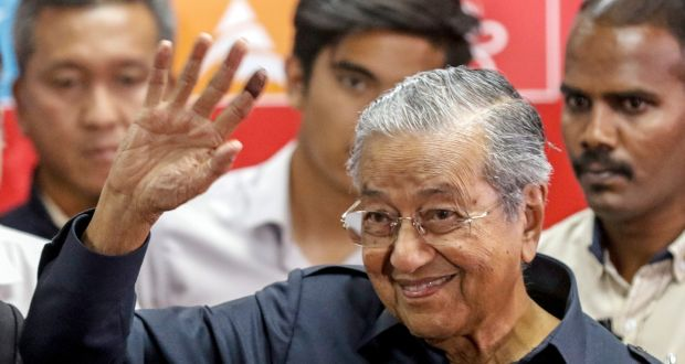 In a stunning and exhilarating election Malaysians have thrown out the governing coalition led by Najib Razak and given an overall majority to the competing alliance led by the 92-year-old veteran Mahatir Mohamed. Photograph: Ahmad Yusni/EPA
