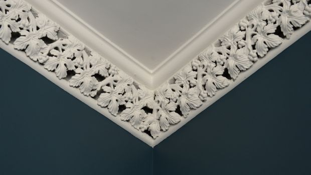 The house originally boasted lots of ornate ceiling cornices and roses, which were restored. Photograph: Dara Mac Dónaill