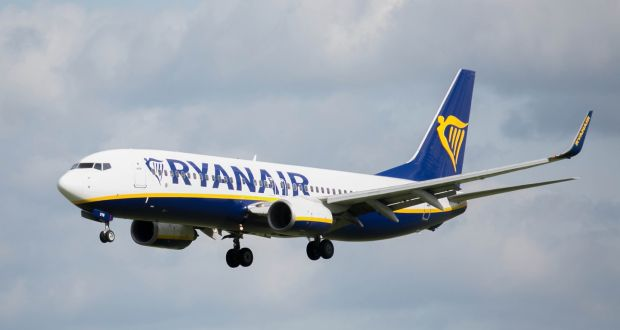 A Ryanair planes at Dublin Airport. File photograph: Collins