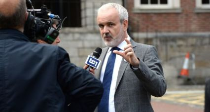 Colm O Gorman, Director Amnesty International Ireland, and an abuse survivor at Dublin Castle during the visit of Pope Francis. Photograph: Cyril Byrne/ The Irish Times