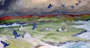 Image result for geese on the horizon of the mountains painting