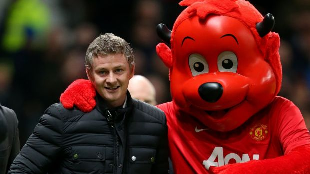 From sneer to smile: Ole Gunnar Solskjaer will take over from Mourinho at Old Trafford. Photograph: Dave Thompson/PA Wire
