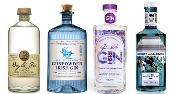 Irish gins: Boyle's Irish Botanical Gin, Drumshanbo Gunpowder Irish Gin, Graham Norton's Own Irish Gin and Method & Madness Irish Gin