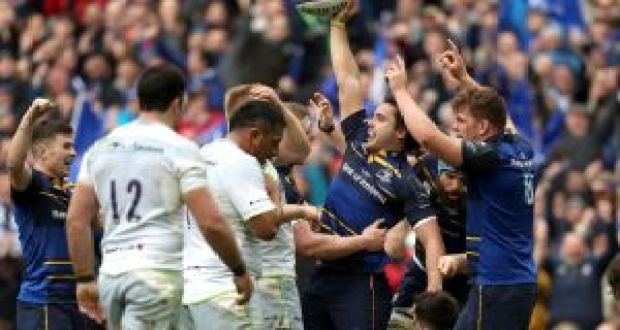 Leinster's James Lowe celebrates a try against Saracens during the  Champions Cup quarter-final at the  Aviva Stadium. Photograph: Tommy Dickson/Inpho