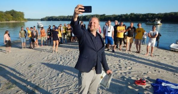 President of Liberland Vít Jedlicka with Floating Man festival-goers. Photograph: David Simacek