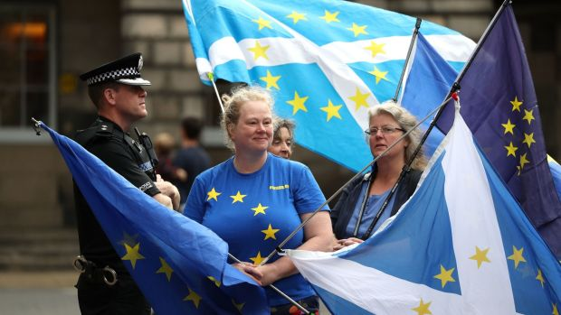 Pro-EU demonstrators outside the Court of Session in Edinburgh. Photograph: PA