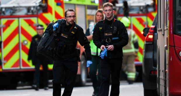 Police and emergency vehicles gather near London Bridge in England,  after what was described as a  terrorist incident in the area. Photograph: Daniel Sorabji/AFP via Getty Images