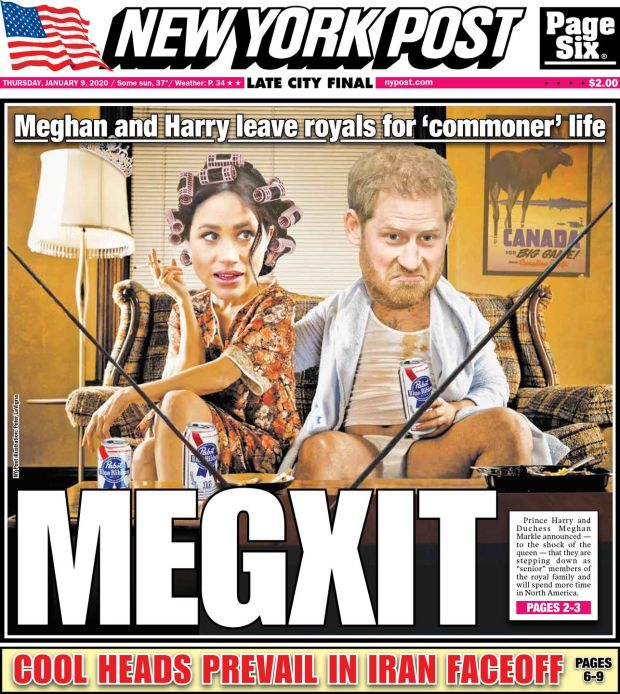 Megxit: the New York Post's full front page
