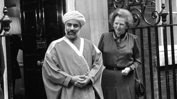 Sultan Qaboos Bin Said Al Said of Oman with prime minister Margaret Thatcher outside 10 Downing Street in London in 1982. Photograph: PA Wire