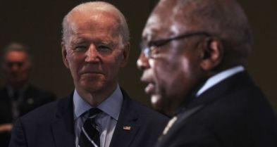 Representative Jim Clyburn (right), the highest-ranking African-American in Congress, announced in  Charleston that Joe Biden (left) was his choice for president, praising his integrity. Photograph: Travis Dove/New York Times
