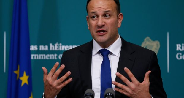 Taoiseach Leo Varadkar announces, at a briefing in Government Buildings, a tightening of restrictions on the movements of people, to try and curb the spread of the Covid-19. Photograph: Crispin Rodwell/The Irish Times