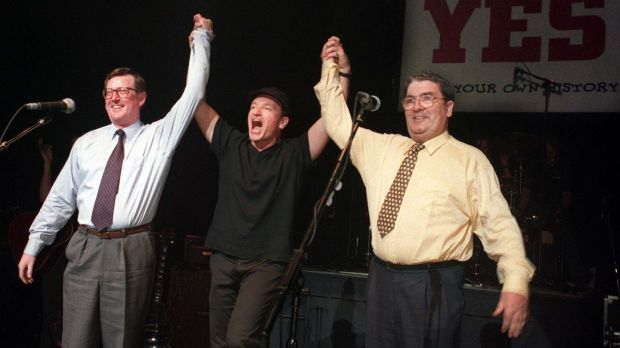 Peacemaker? Bono campaigning with David Trimble and John Hume during the Belfast Agreement referendum in 1998. Photograph: Paul Faith