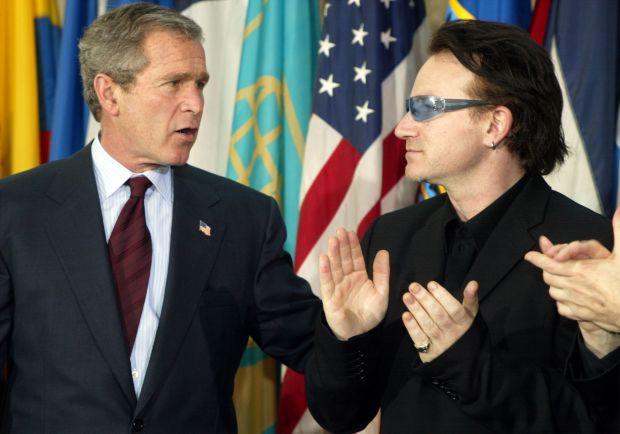 'Irish rock star with the Toxic Texan': Bono with US president George W Bush in March 2002. Photograph: Jim Watson/AFP via Getty