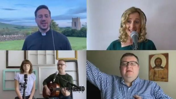 The video includes individuals and church choirs singing the old Irish hymn 'Be Thou My Vision' and dedicated to their own local healthcare facility dealing with Covid-19.