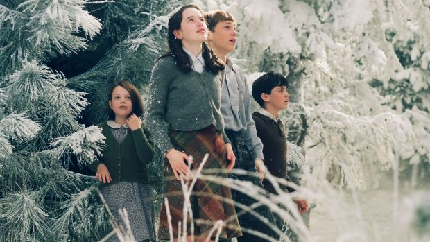 Lucy (Georgie Henley), Susan (Anna Popplewell), Peter (William Moseley) and Edmund (Skandar Keynes) in a scene from the film version of The Chronicles of Narnia: The Lion, The Witch and The Wardrobe