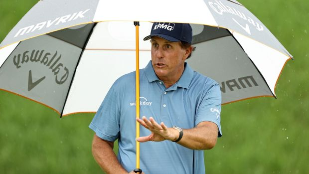 Phil Mickelson, who turned 50 recently, led the Travelers Championship at the halfway point. Photograph: Elsa/Getty Images