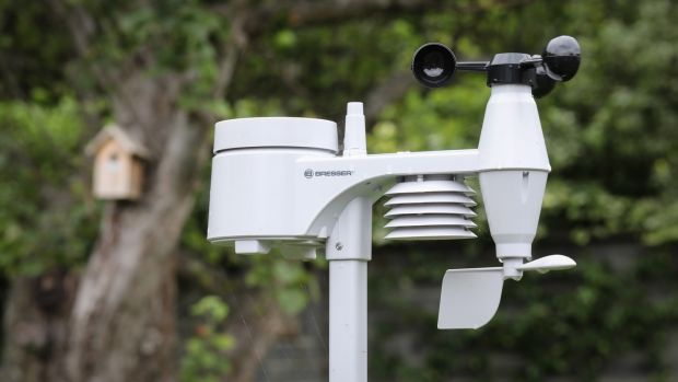 A weather station in Adam Bermingham's garden in Flemingstown Park, Churchtown. Photograph: Crispin Rodwell