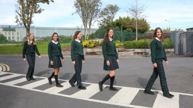 Wearing the Salerno uniform are fifth-year students, from left, Sarah Casserly, Ria Banerjee, Síofra McCormack, Leah Ruane and Cliodhna McDonald. Photograph: Joe O'Shaughnessy