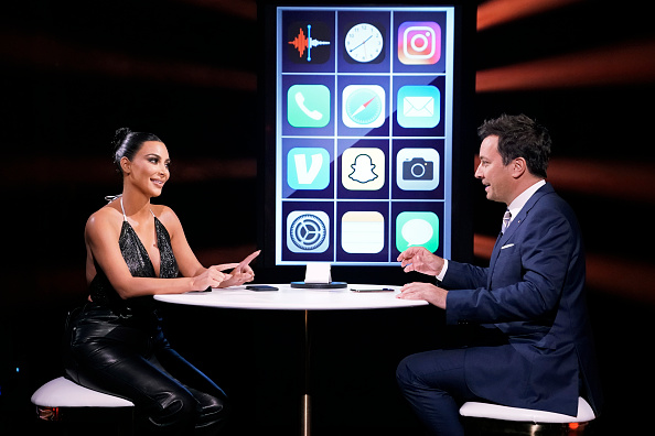 Kim Kardashian West and host Jimmy Fallon during a