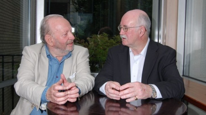 Derek Mahon, left, with his publisher Peter Fallon of Gallery Press