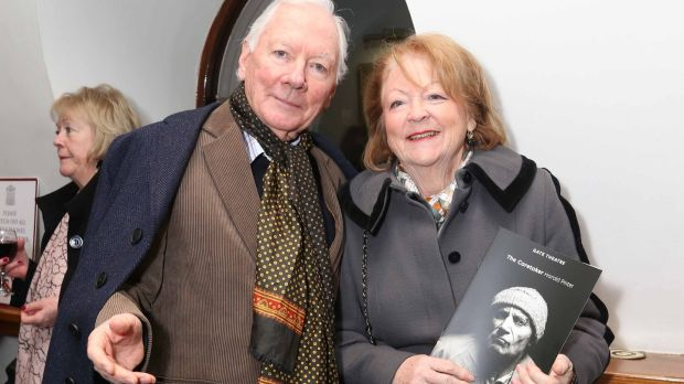 Gay Byrne and Kathleen Watkins at the opening of The Caretaker by Harold Pinter in the Gate Theatre. Photograph: Sasko Lazarov/ Photocall Ireland