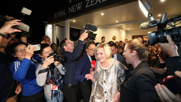 National leader Judith Collins concedes the 2020 New Zealand General Election. Photograph: Greg Bowker/Getty Images.