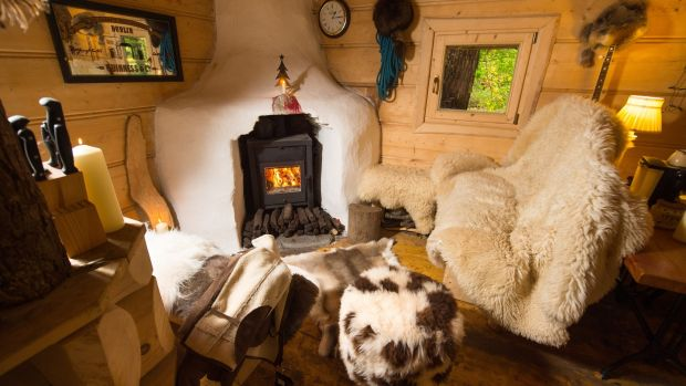 A view inside the wood cabin of Derek McCarthy from Irish Hide Designs. Photograph: Diarmuid Greene