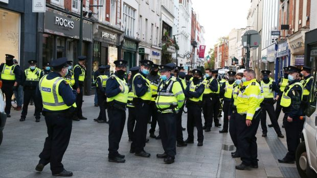 There was a large Garda presence on Grafton Street. Photograph: Stephen Collins
