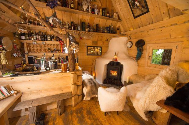 Derek McCarthy's wood cabin. Photograph: Diarmuid Greene