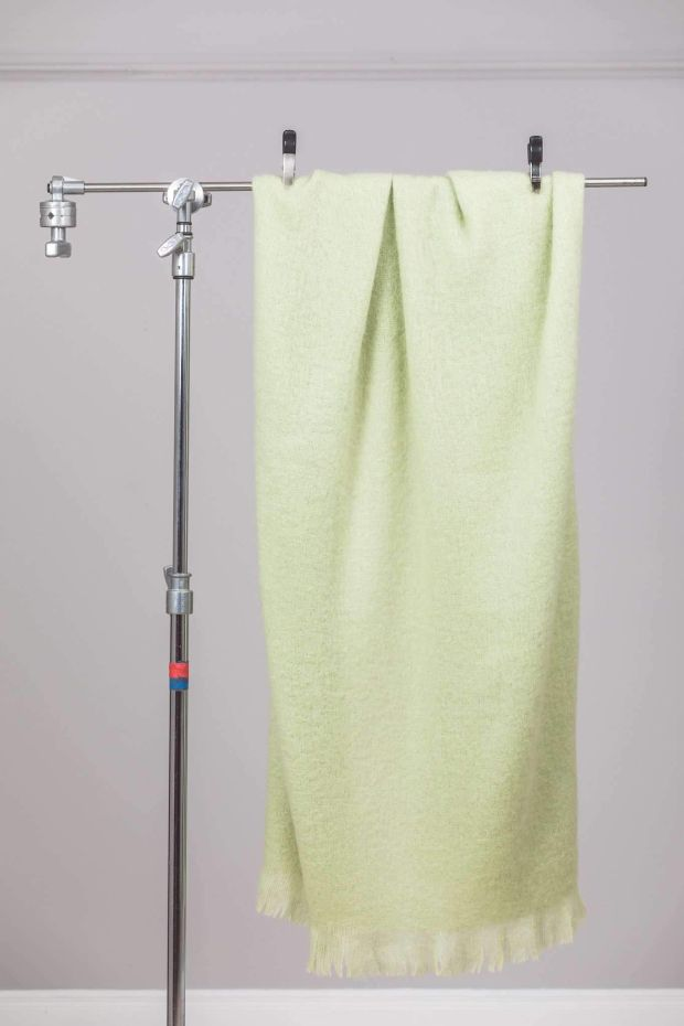 Foxford's lime solid mohair throw