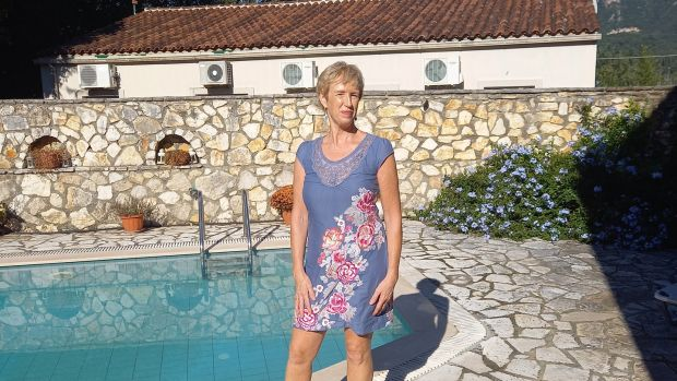 Kathy Irwin doesn't intend to return to Ireland from Corfu when the current crisis is over