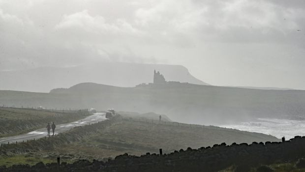 A general view of Classiebawn castle Mullaghmore in front of Mount Ben Bulben in Co Sligo on Wednesday. Photograph: Niall Carson/PA Wire