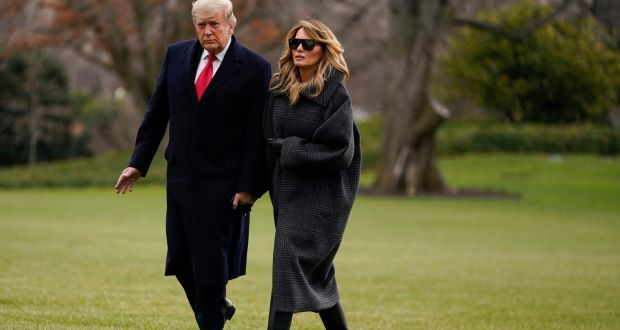 US president Donald Trump and first lady Melania Trump arrive on the South Lawn of the White House in Washington on December 31st. Photograph: Evan Vucci/AP