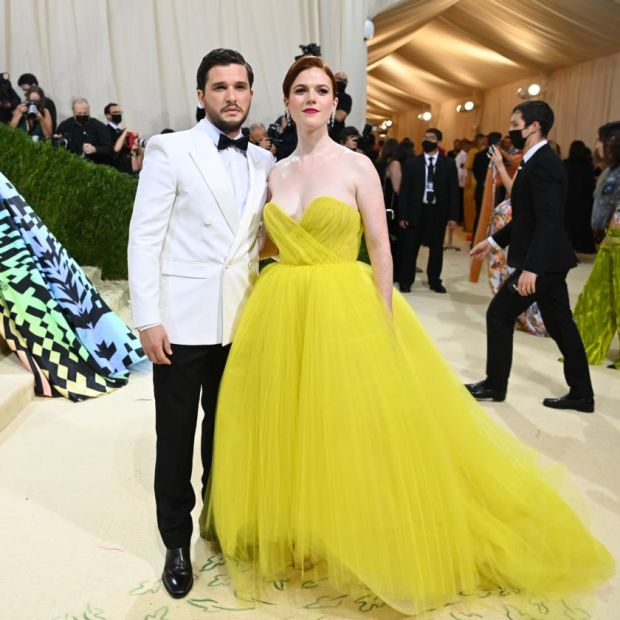Kit Harington and Rose Leslie at the Metropolitan Museum of Art's Costume Institute benefit gala in New York, Sept. 13, 2021. (Nina Westervelt/The New York Times)