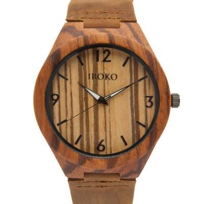 reloj de madera natural Levante Iroko