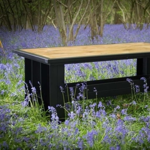 Oak top dining table 2000 x 1000 in bluebell woods