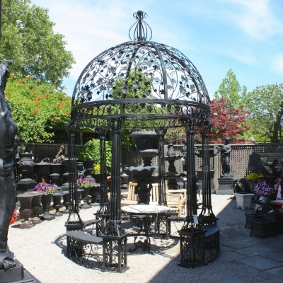 Round 8 Iron Gazebo With Grape Dome Top IronGate Garden