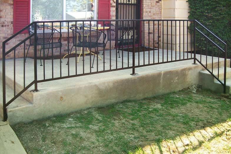 Railing Denver Colorado Deck Patio Stair Railing | Decorative Handrails For Outdoor Steps | Exterior Black Metal | Foldable | Single Post | Farmhouse | Solid Wood