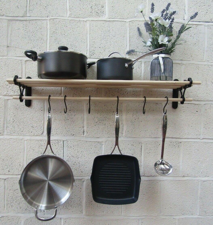 black antique kitchen pot pan rack 0 9