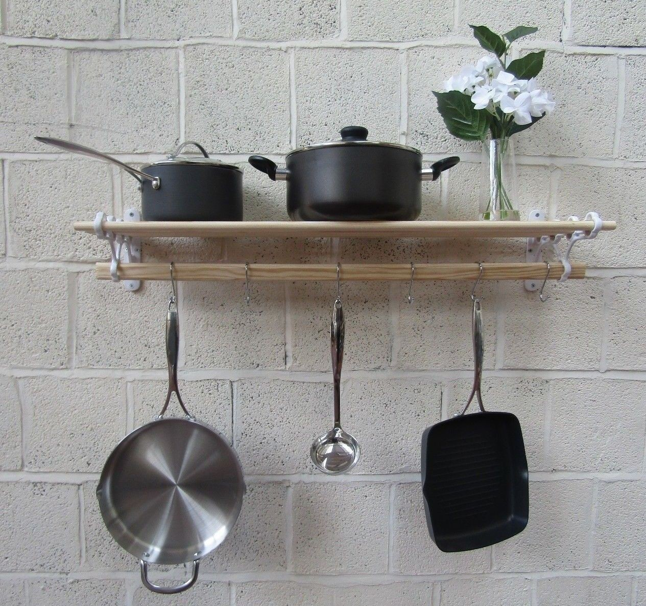 wall mounted solid oak cast iron rustic