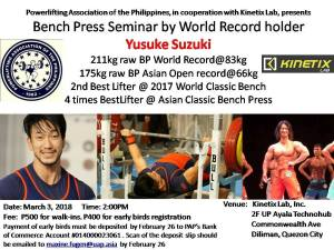 Bench Press Seminar by World Record holder Yusuke Suzuki @ Kinetix Lab