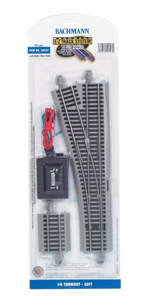Bachmann E-Z Track #4 Turnout – Left – HO Scale 44557