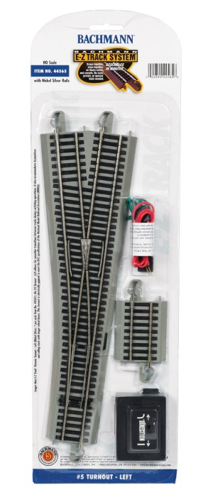Bachmann E-Z Track #5 Turnout – Left – HO Scale 44565