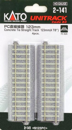 Kato HO UniTrack 123mm 4 7/8 Inch Concrete Tie Straight 4pcs 2-141
