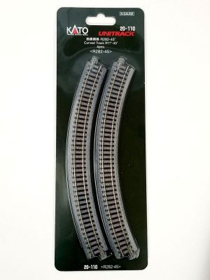 Kato N UniTrack 282mm 11″ Radius 45º Curve Track (4 pcs) 20-110