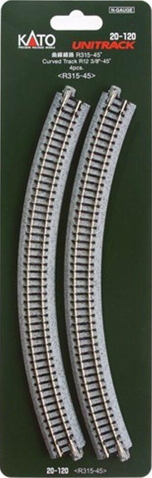 """Kato 20-120 N Scale 315mm UniTrack 4 pcs Radius 45º Curve Track 12 3//8/"""""""